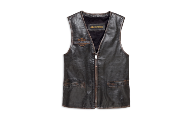 Pánská vesta VEST-EAGLE,DISTRESSED,LTHR,